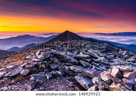 Fantastic mountain landscape. Carpathian, Ukraine, Europe. Beauty world. - stock photo