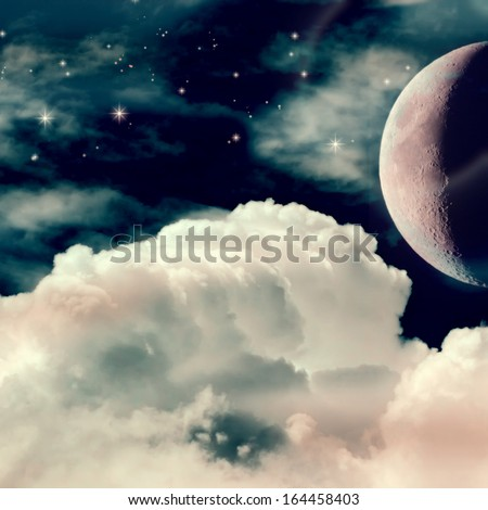 Fantastic Night Sky with Moon and Stars, Christmas Background - stock photo