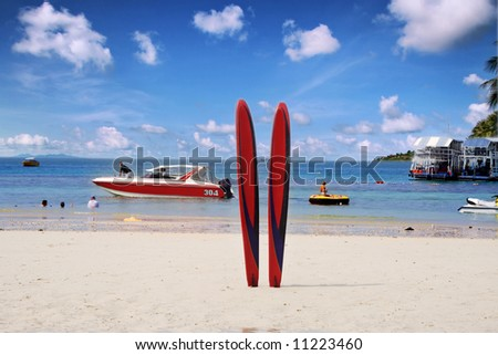 Fantastic sea view. Shot in a exotic islands. - stock photo