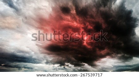 Fantastic sky presages apocalypse - stock photo