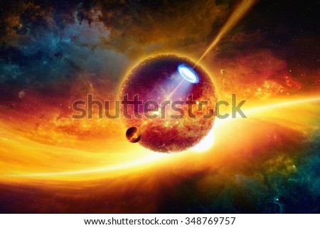 Fantastic space background - big dark aliens planet, alien spaceship shines spotlight on small red planet, glowing galaxy. Elements of this image furnished by NASA nasa.gov - stock photo