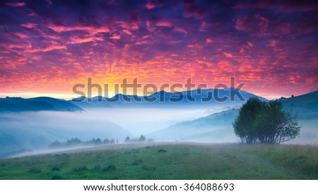 Fantastic summer sunrise in the Carpathian mountains. Foggy morning scene with blood red sky. Transcarpathian, Borzhava region, Ukraine, Europe. - stock photo