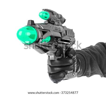 Fantastic toy gun isolated on white background - stock photo