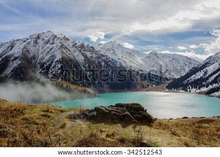 Fantastic view of mountains near Big Almaty Lake                 - stock photo