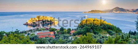 Fantastic view of the Sveti Stefan, small islet and resort in Montenegro. Dramatic morning scene. Balkans, Adriatic sea, Europe. Beauty world.  - stock photo