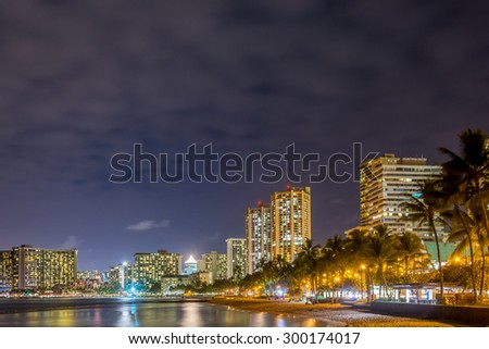 Fantastic view of tropical ocean at night in Honolulu, Hawaii, USA - stock photo