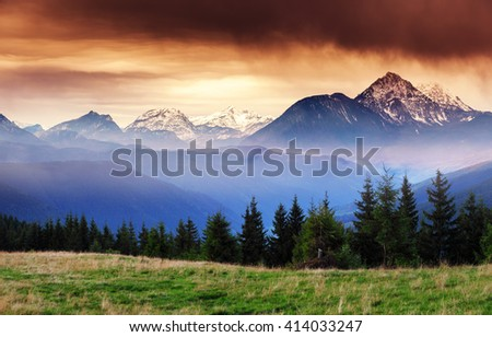 Fantastic views of the mountain range with snow peaks at twilight. Dramatic and picturesque scene. Location place Salzburg. Austria, Europe. Artistic picture. Beauty world.  - stock photo