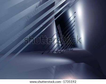 Fantastic virtual architectural location - stock photo