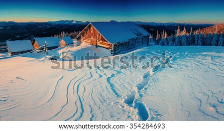 Fantastic winter landscape, the steps that lead to the cabin. Magic event in frosty day. In anticipation of the holiday. Dramatic scenes. Carpathian, Ukraine, Europe. - stock photo