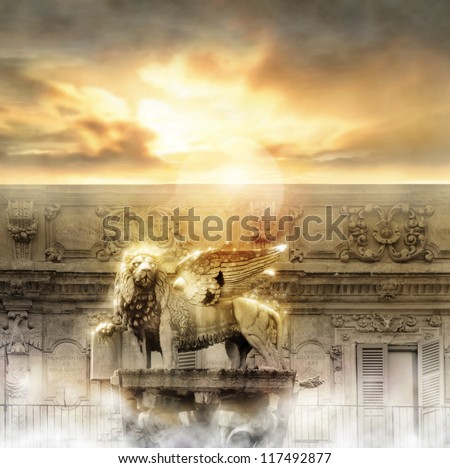 Fantastical glowing golden lion statue with wings in majestic heavenly setting - stock photo