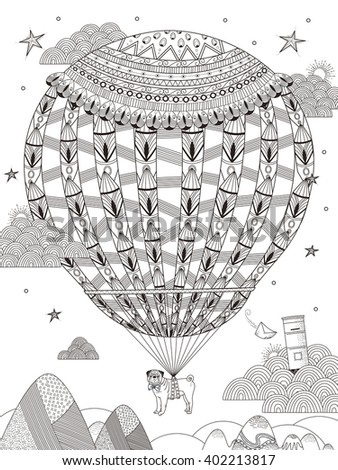 fantasy adult coloring page - pug floats on the starry night by hot air balloon  - stock photo