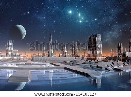 Fantasy Alien City - stock photo