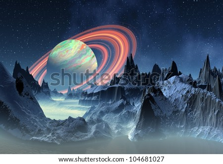 Fantasy Alien Planet with Saturn like Planet in the Background - stock photo