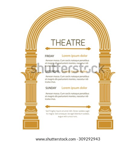 Fantasy ancient arch in vintage style on white background.Theatrical poster invitation to show. - stock photo