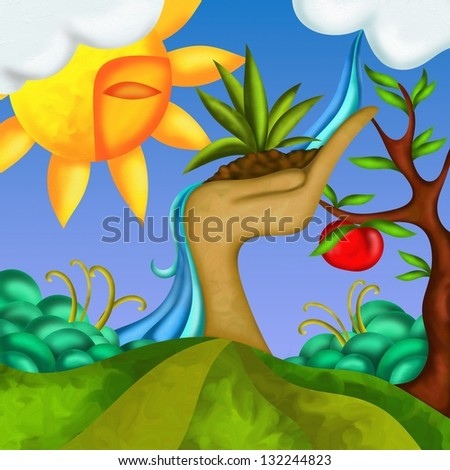 fantasy background with apple tree - stock photo
