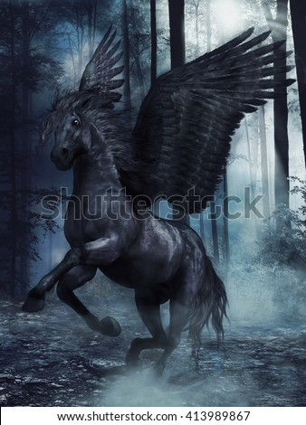 Fantasy black winged horse in a foggy forest at night. 3D illustration. - stock photo