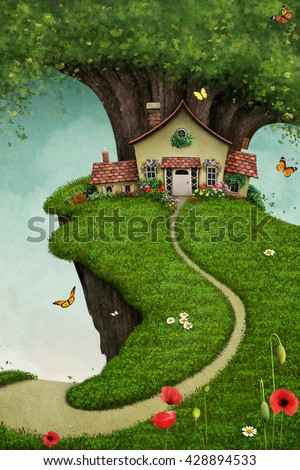 Fantasy card or illustration of  nice house on  large rock near the tree - stock photo