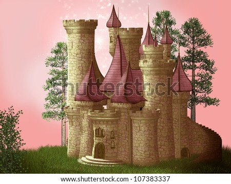 Fantasy castle 3D - stock photo