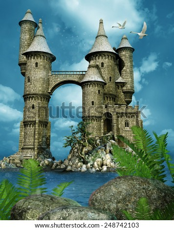 Fantasy castle towers by water, with rocks, fern and swans - stock photo