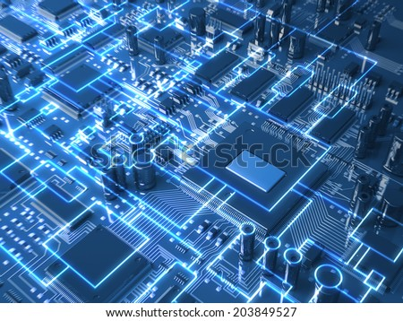 Fantasy circuit board. Top view. 3d illustration - stock photo