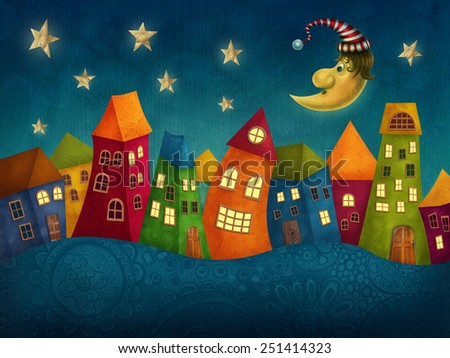 Fantasy colorful houses in a row - stock photo