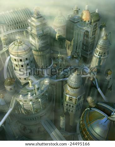 fantasy 3D city form past to future - stock photo