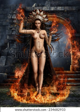 Fantasy dancer in a circle of fire holding flames in her hands - stock photo
