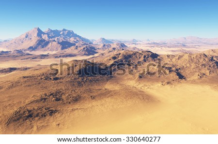 Fantasy desert landscape - stock photo