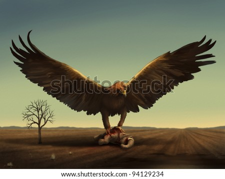 fantasy digital illustration of a giant bird preying on an adult elephant - stock photo