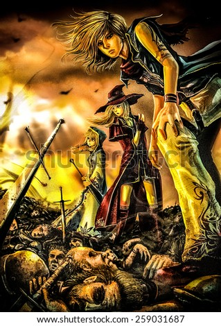 Fantasy drawing: Three great wizards are standing on the pile of corpse with burning background - stock photo