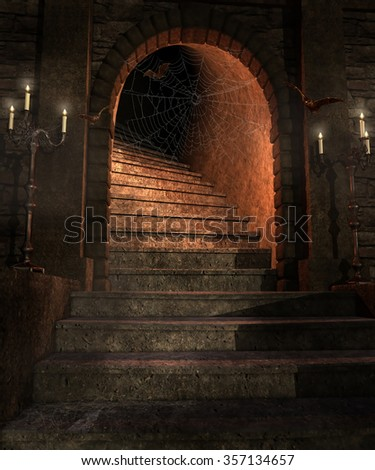 Fantasy dungeon with stairs, candelabras and bats - stock photo