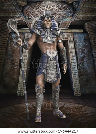 Fantasy Egyptian pharaoh with a cobra staff - stock photo