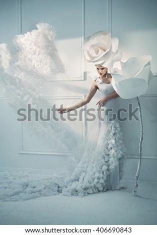 Fantasy fashion style image of a stunning blonde beauty - stock photo