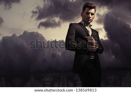 Fantasy fashion style photo of a handsome man - stock photo