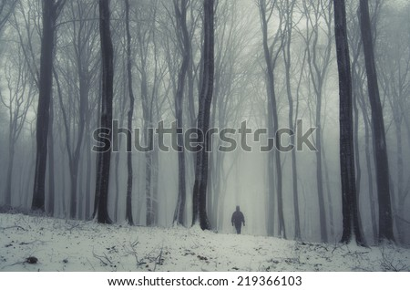 fantasy forest in winter with man - stock photo