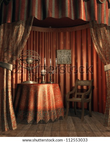 Fantasy fortuneteller's tent with magic objects - stock photo