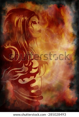 Fantasy girl on the background with fire and smoke. Illustration girl's head in fantasy spots and shapes on colour grunge background with abstract fire and smoke  - stock photo
