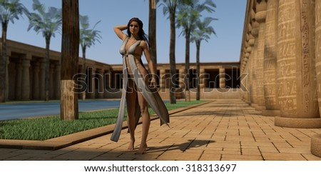 fantasy girl wearing light outfit posing in Egypt temple - stock photo