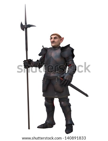Fantasy gnome knight character in medieval armour carrying a halberd, 3d digitally rendered illustration - stock photo