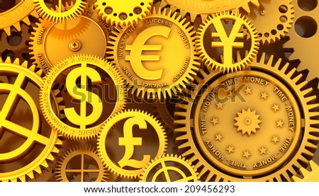 Fantasy golden clockwork with currency sign. Euro gear, dollar, yen, pound - stock photo