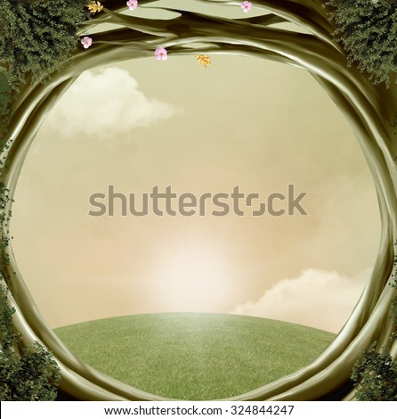 Fantasy green hole - stock photo