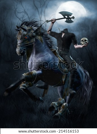 Fantasy headless horseman with an axe and a skull in the forest - stock photo