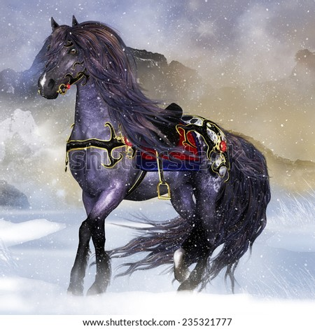 Fantasy Horse Equine Wall Art or Greeting Card - stock photo