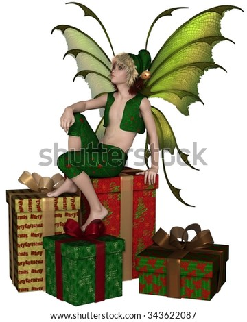 Fantasy illustration of a Christmas fairy or elf boy sitting on a pile of festive presents, 3d digitally rendered illustration - stock photo