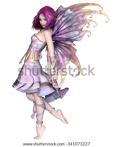 Fantasy illustration of a cute and pretty fairy with purple hair, dress and wings, 3d digitally rendered illustration - stock photo
