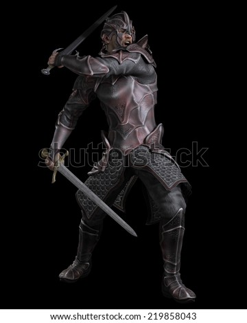 Fantasy illustration of a dark knight with two swords on a black background, 3d digitally rendered illustration - stock photo