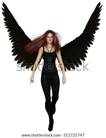Fantasy illustration of a female urban guardian angel walking forwards, 3d digitally rendered illustration - stock photo