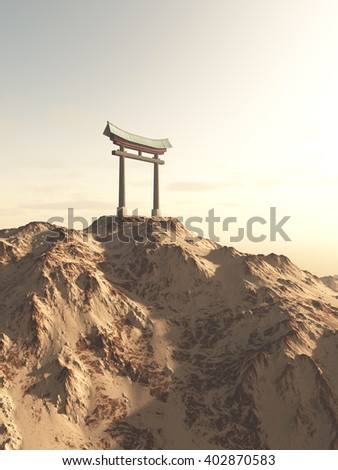 Fantasy illustration of a Japanese Torii Gate on top of a lonely mountain, marking the entrance to a Shinto Shrine or sacred space, digital illustration (3d rendering)  - stock photo