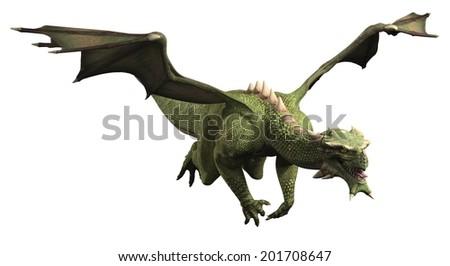 Fantasy illustration of a large green dragon in flight, 3d digitally rendered illustration - stock photo