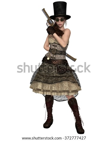 Fantasy illustration of a Steampunk Woman with stovepipe hat, standing with two revolvers, 3d digitally rendered illustration - stock photo
